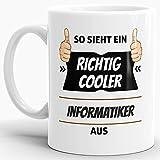 Tassendruck Berufe-Tasse so Sieht Ein Richtig Cooler Informatiker aus Weiss/Job / mit Spruch/Kollegen / Arbeit/Geschenk-Idee/Büro