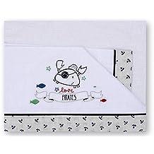 Pirulos 00113320 - Sábanas, diseño pirate, 50 x 80 cm, color blanco y gris