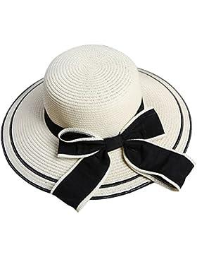 Tinksky Mujeres chicas Bowknot Roll-up Wide ajuste banda verano sol paja sombrero Beach Cap (blanco cremoso)