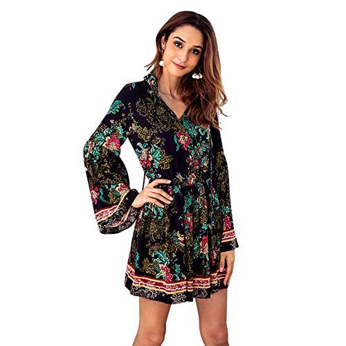 AchidistviQ Damen Minikleid mit Langen Ärmeln, V-Ausschnitt, hohe Taille, Kordelzug, Herbstblumen-Design, dunkelblau, M - ärmel Lange 2x