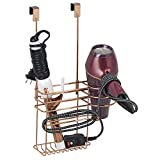 mDesign Hair Dryer Holder Without Drilling - Ideal for Hair Dryer Storage and Also for Your Curling Iron - Over The Door Hanging Baskets and Hooks for Cord Storage - Rose Gold