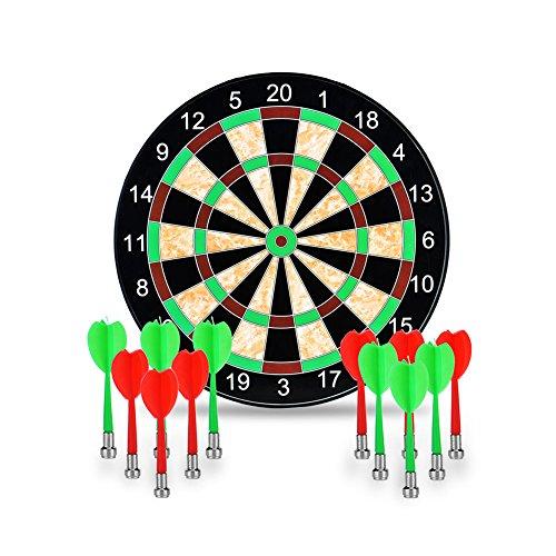 """Towinle Dartscheibe, 17\"""" Magnetische Dartscheibe mit 12 Magnet Dart Dartboard 12 Pfeile in 2 Farben Aufrollbare Dartscheibe für Kinder und Erwachsenen"""