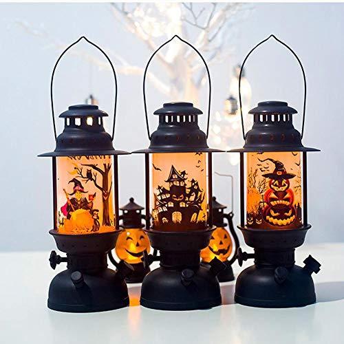 HELING Halloween Dekoration, Halloween LED Laternen Große gruselige Kürbis Burg Flamme leuchtet hängende Laterne für Home Party Veranda Hausbar