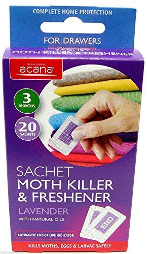 Acana Sachet Moth Killer et désodorisant avec parfum de lavande Lot de 20 3 mois
