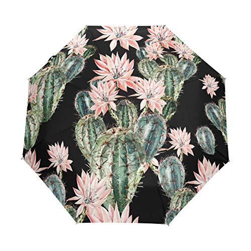 XiangHeFu Regenschirm Cacus Flower Auto Öffnen Schließen 3 Falten Leichtes Anti-UV