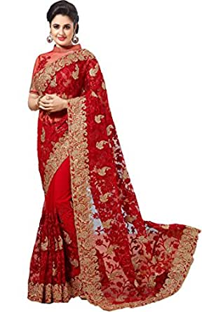 Nivah Fashion Women's Full NET Havy Embroidery Work With Diamond's Red Sari...K675