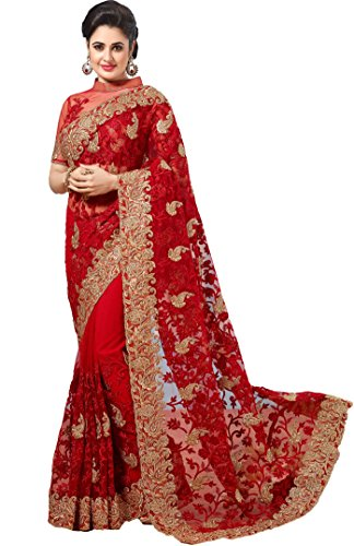 Nivah Fashion Women\'s Full NET Havy Embroidery Work With Diamond\'s Red Sari...K675