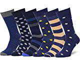 Easton Marlowe Men's Dress Socks Subtle Patterns - 6pk #40, Striped Polkadot Daisy Smiley - 43-46 EU shoe size