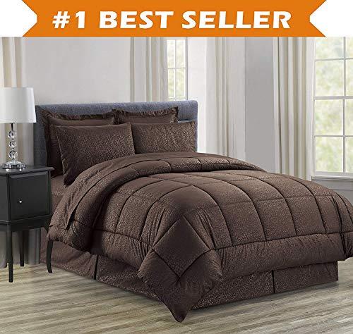 Luxus bed-in-a-bag Tröster Set auf Amazon. eleganten Komfort knitterfrei–seidig weich Schönes Design Komplett bed-in-a-bag 8-teilig Tröster Set–hypoallergenic- King Schokolade (Schokolade Tröster)