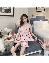 Jeaqw Home con el cojín en el Pecho, Pijama, Pantalones de algodón de Verano para Mujer, Traje de niña, Fresa Blanca,…