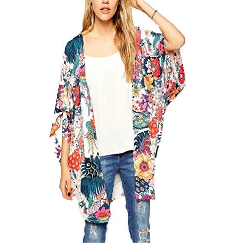 BeautyG Frauen schiere Chiffon Bluse lose Tops Kimono Blumendruck Strickjacke (XL)