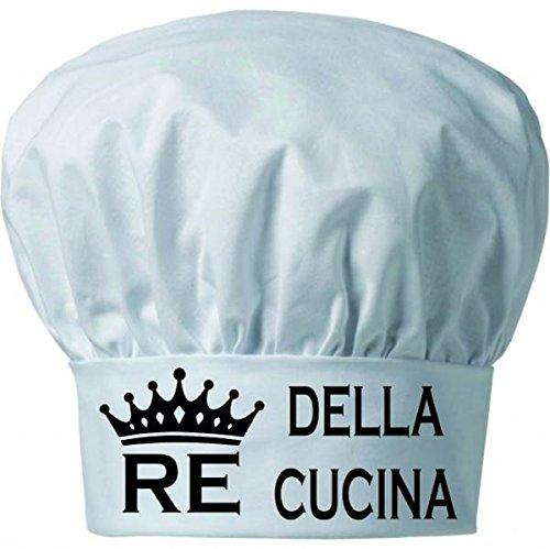 Cappello Cuoco Chef pasticcere Bianco Taglia Unica con Scritta RE della Cucina