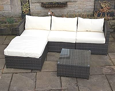 Brown Rattan 4 Seat Corner Sofa Set Garden Patio Furniture 195
