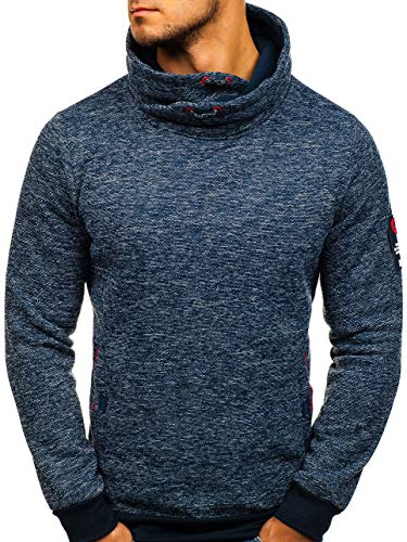 BOLF Herren Sweatshirt ohne Kapuze Pullover mit Aufdruck Pulli Kamin Sport Casual Style RED Fireball HY289 Dunkelblau XXL [1A1]