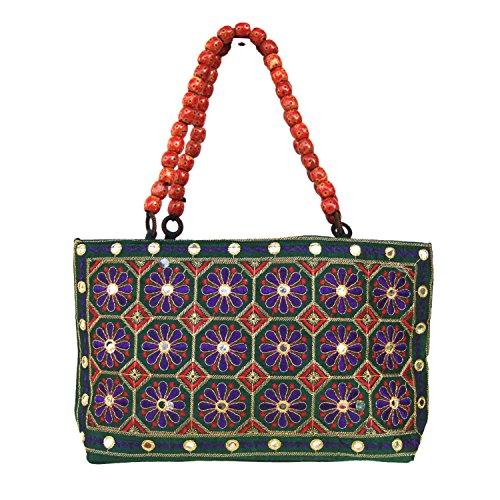 Pailletten Blumen Zari gestickte Semi-Seide Fashion Handtasche aus Indien (Gestickte Handtasche Seide)
