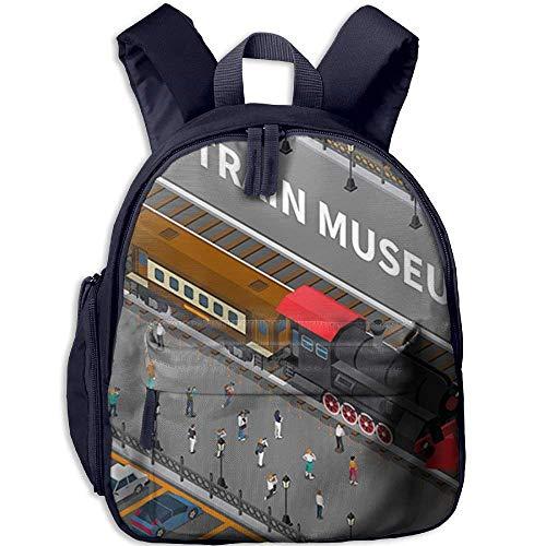 Kindergarten Boys Girls Backpack Train Museum School Bag