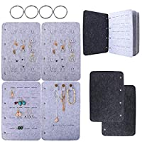 BUONDAC Earrings Little Book Jewellery Felt Earring Storage Organiser Book for Earrings Necklaces Bracelets Rings Book Shaped Earring Book Jewellery Collection Display 19 × 27 × 2.5cm (Grey)