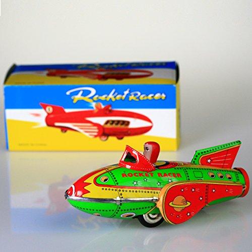 (PYXEL STUDIO Rakete Racer Grün TIN Fahrzeug Modell Spielzeug Aktion Retro Adult Collectible Antike Vintage Replica-Zinn-Spielzeug)