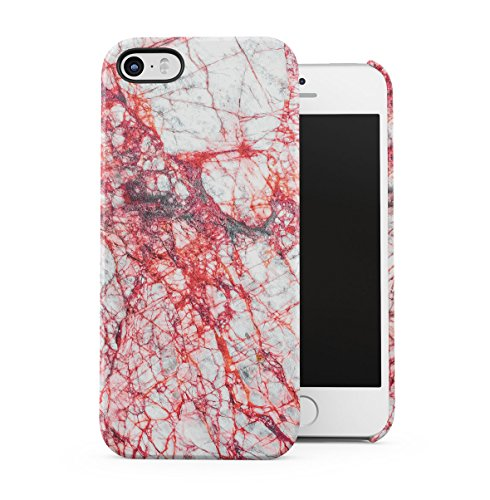 Rough Sapphire Marble Stone Print Apple iPhone 5 , iPhone 5S , iPhone SE Snap-On Hard Plastic Protective Shell Case Cover Custodia Grey Red Cracks
