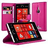 Cadorabo Hülle für Nokia Lumia 925 Hülle in Cherry Pink Handyhülle mit Kartenfach und Standfunktion Case Cover Schutzhülle Etui Tasche Book Klapp Style Cherry-Pink