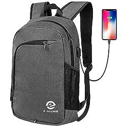E-MANIS Sac à dos professionnel pour ordinateur portable Sacs universitaires pour école avec chargeur USB et Sac à dos imperméable hommes et femmes, pour ordinateur portable de 15,6 pouces Gris