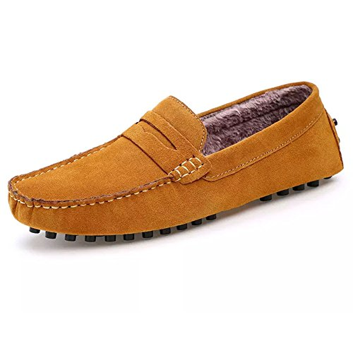 ROSEUNION Herren Winterstiefel Warm Gefütterte Mokassins Bootsschuhe Wildleder Loafers Schuhe Flache Fahren Halbschuhe Slippers Gelb