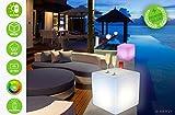 MERVY Cube LED Sitzsack Couchtisch Hocker 40cm beleuchtet Mehrfarbig + Fernbedienung/innen–außen