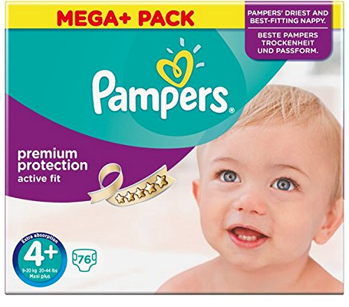 Preisvergleich Produktbild Pampers Active Fit Windeln, Gr. 4+ (9-18 kg), Mega Plus, 1er Pack (1 x 76 Stück)
