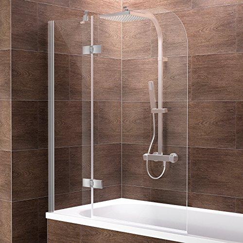 Schulte Duschwand Pendolo, Anschlag links, 120x140 cm, 2-teilig mit Festelement, Sicherheitsglas klar 6 mm, Profilfarbe chrom-optik, Duschabtrennung für Badewanne