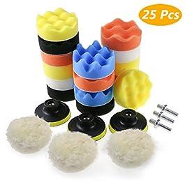 Zaeel Tamponi per lucidatura kit lucidatura auto con adattatore per trapano M10, set di 25 pezzi lucidatura pad spugna…