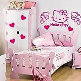 Aufkleber Bay Hello Kitty Kit Wandtattoo Graphic Aufkleber Vinyl Kinderzimmer Kinder schwarz