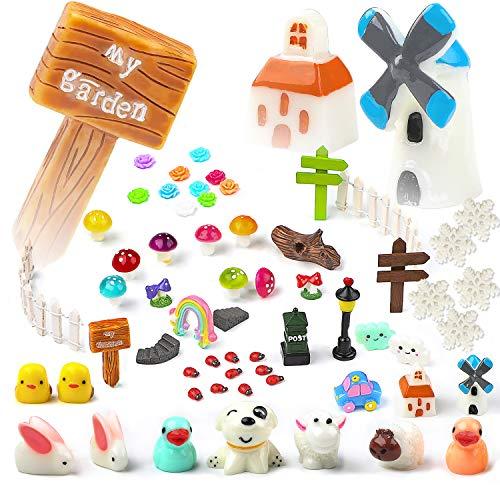 te Miniatur Zubehör Landschaft Kit 60 Stück, Tiere Pflanzen Figur Landschaft DIY Dollhouse Miniatur Haus Garten Dekor ()