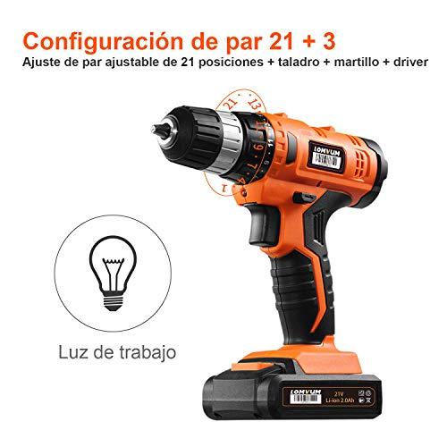 Taladro Atornillador 20V LOMVUM Taladro con Percusión de Función 2 0Ah Batería de Litio Maxima Torsión 60N.m Luz LED 1h Carga Rápida 27 Accesorios