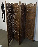 4 Panel Heavy Duty Hand Carved Light Brown Indian Screen Wooden