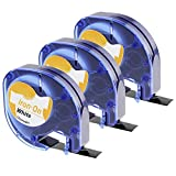 3x kompatibel DYMO LetraTag Stoffetiketten Aufbügelbare Stoff Etiketten 18768 S0718840, aufbügelbar für LetraTag-Drucker, 12mm x 2m, schwarz auf weiß, kompatibel mit LT-100H Plus LT-100T LT-110T QX 50 XR XM 2000 Plus