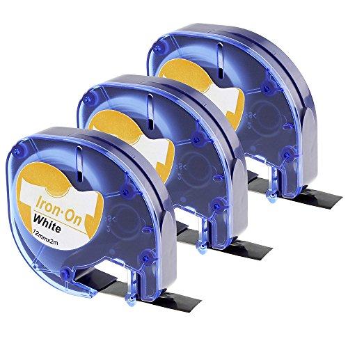 3x kompatibel DYMO LetraTag Stoffetiketten Aufbügelbare Stoff Etiketten 18768 S0718840 12mm x 2m, schwarz auf weiß, kompatibel mit LT-100H Plus LT-100T LT-110T QX 50 XR XM 2000 Plus