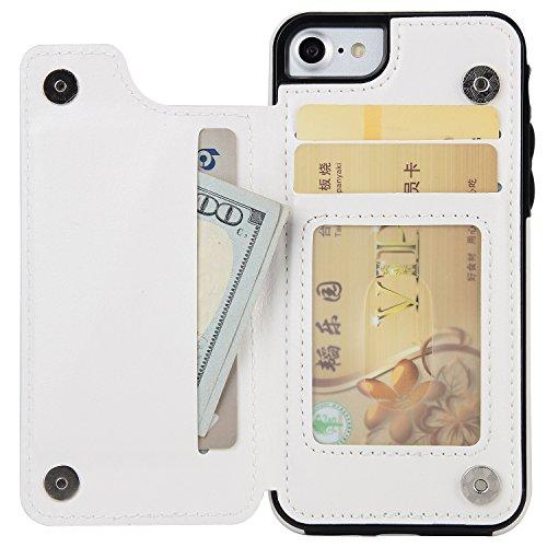 EKINHUI Case Cover Verrückte Pferd Textur Leder zurück Tasche Geldbörse Tasche Tasche mit Kickstand & Card Slots für iPhone 6 & 6s ( Color : Blue ) White