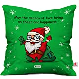 Cheerful Santa Print Green Cushion Cover with Filler ( Xmas Gift For Her, Him, Boy, Girl, Dad, Mom, Friends, Family ) - Christmas Decorations
