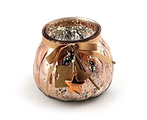 Vento luce sfera vetro luce Ø 11,5x 10cm, vetro rame lucido, deko ciondolo a forma di stella, portacandele candelabro inverno decorazione inverno natale decorazione vetro