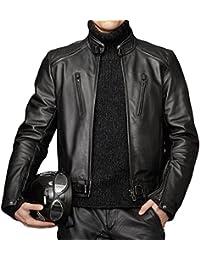 ABDys DKL351 cazadora de piel para hombre, piel de cordero, Negro