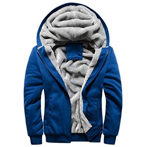 Blouson Homme pour Hiver à Capuche avec Fourrure Manche Longues Veste Parka Epaisse Sport Manteau Fourré - Bleu foncé Taille 50-52