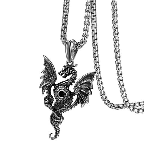 Flongo Herren-Kette Männer Anhänger Halskette, Edelstahl Halskette Kette Silber Schwarz Fliegende...