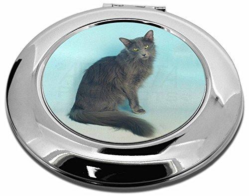 Silber Grau Javanese-Katze Make-up Rund Taschenspiegel Weihnachten Geschenk -