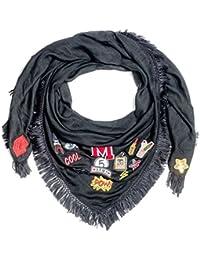 Kandharis XXL Schal für Damen mit Patches Aufnäher Halstuch Quadratisch Glitzer Sterne Häkelborte Fransen Pailletten Patch Premium Oversized WS-11