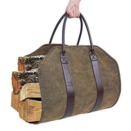 YLOVOW Gewachste Leinwand Brennholz Log Carrier Log Carrier Bag, gewachste langlebige Holz Tote, Kaminofen Zubehör, Brennholz Halter mit Griffen für Camping Best Gifts