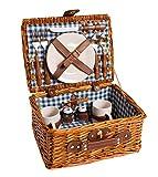 eGenuss LYP1593BLU cesta de picnic cesta de picnic color miel de mimbre natural con loza de cerámica y cubiertos de acero inoxidable, ideal para 2 personas estilo Baviera color azul tamaño: 32 (L) X 25 (A) X 17cm