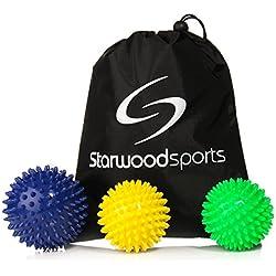 Bola masajeadora con pinchos, para liberación miofascial y terapiade puntos de masaje, se puede elegir un juego de bolas o una única bola, 9 cm Medium Firm Spiky, 7 cm Very Firm Spiky, 7 cm Medium Firm Spiky Balls + Carry Bag