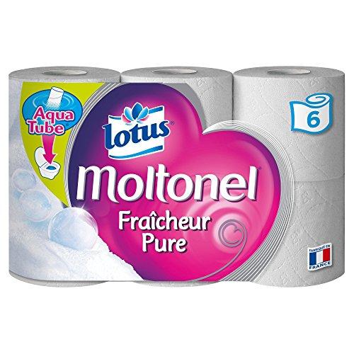 Lotus Moltonel Fraîcheur Pure - Papier toilette parfumé 3 épaisseurs Blanc - lot de 2 paquets de 6 rouleaux