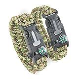 DETUCK®Freizeit ParacordArmband Handgelenk Überlebensarmband Seil mit Kompass Zündler Kratzer Pfeife (2 Stk. pro Pack) (Armeegrün + Tarn)