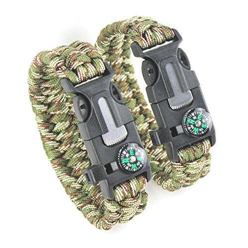 Imagen de 2pcs pack detuck® kit de pulsera paracord pulsera de supervivencia pulsera herramienta kits de supervivencia con brújula arrancador de fuego de pedernal silbato raspador ejército verde + camuflaje